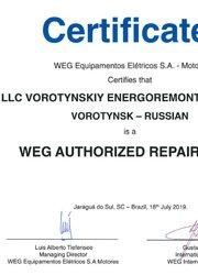 Сертификат WEG июль 2019